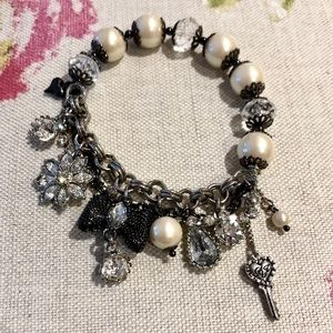 Betsy Johnson Stretchy Pearl Charm Bracelet